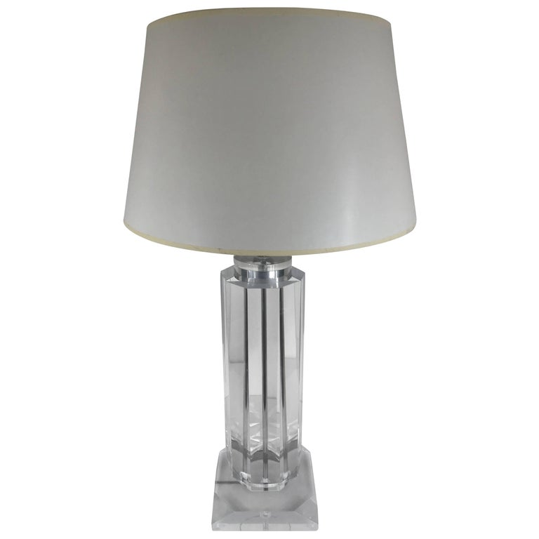 Tall Lucite Column Table Lamp
