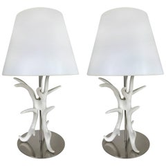 Pair of White Painted Antler Table Lamps