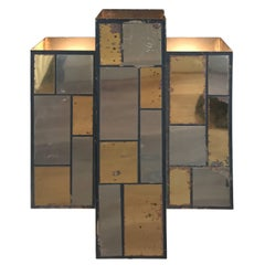 Art Deco Chrome and Brass Patchwork Sconce