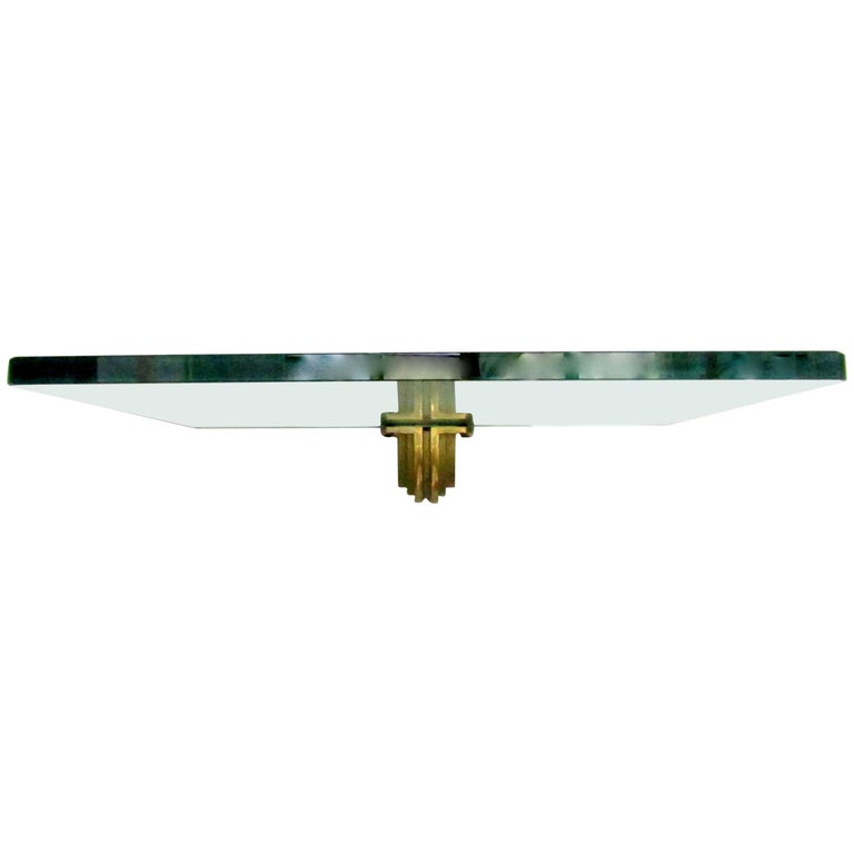 1970s Glass and Brass Wall Mounted Shelf Designed by Peter Ghyczy