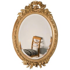 Antique French, Louis XVI Style Oval Mirror, circa 1890