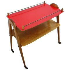 Serving Trolly in Wood with a Red Formica Top Mid-Century Modern by Opal