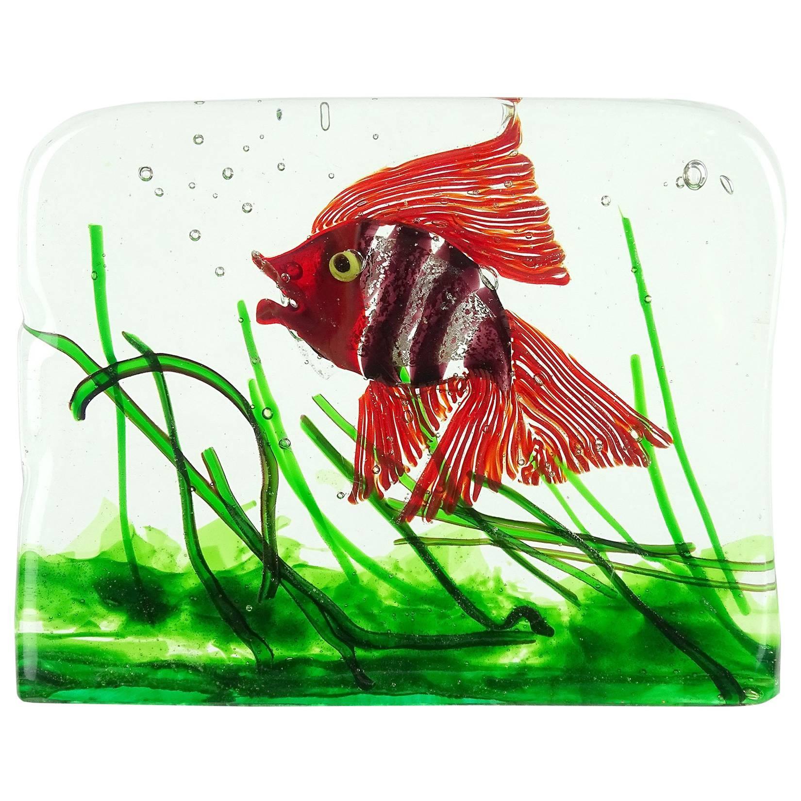 Cenedese Murano Red Purple Silver Flecks Italian Art Glass Fish ...