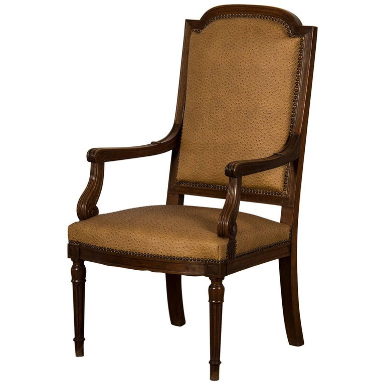 Large Antique French Louis XVI Style Walnut Fauteuil, circa 1860