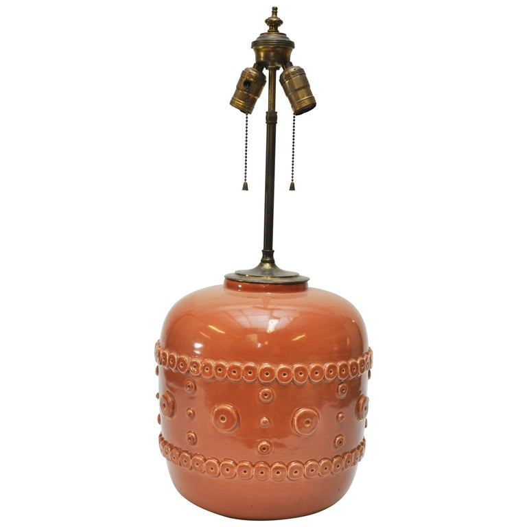 French Ceramic Terra Cotta Glazed Lamp