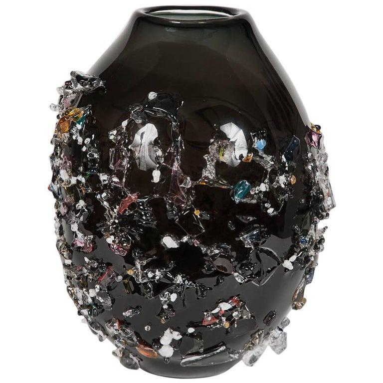 Sakura VIV, a unique glass vase in black with mixed colours by Maarten Vrolijk For Sale