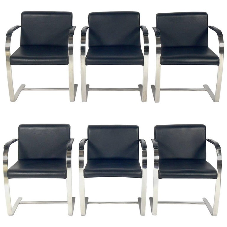 Set of Six Brno Chrome Dining Chairs After Mies Van Der Rohe