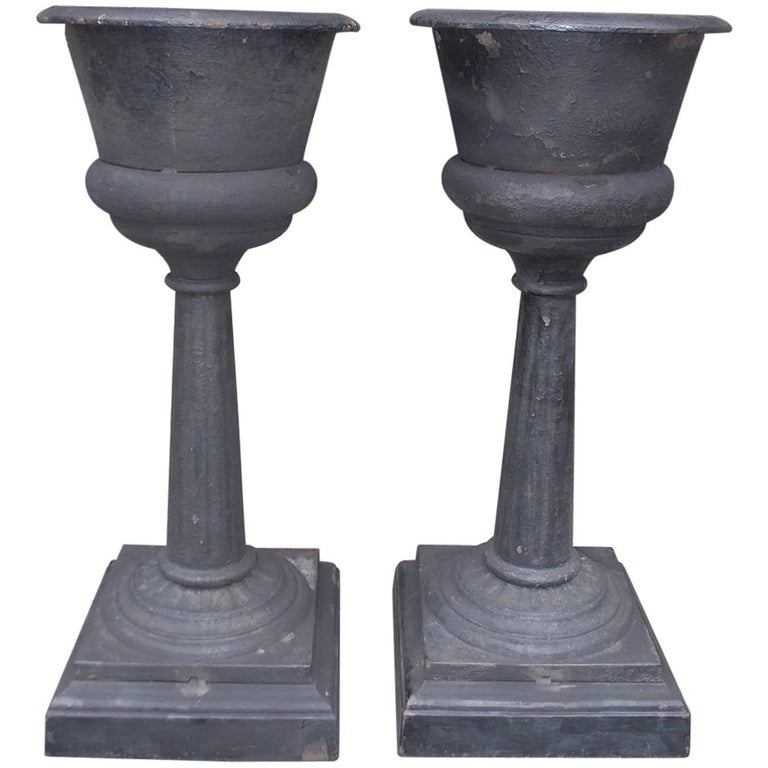 Pair of French Cast Iron and Painted Urn Garden Planters , Circa 1840