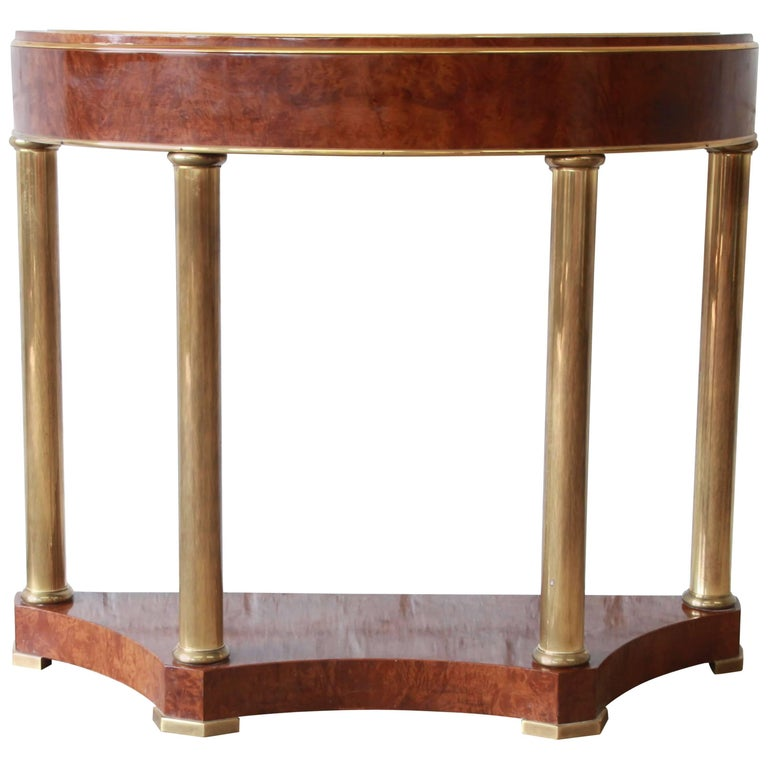 Mastercraft burl wood and brass demilune console table for sale at 1stdibs - White demilune console table ...