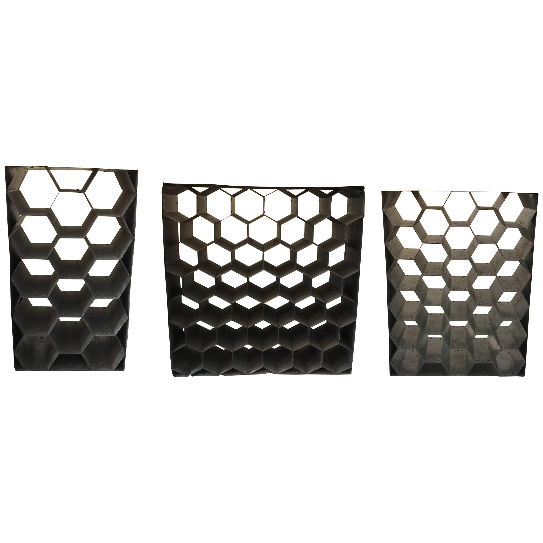 Vintage Galvanized Metal Honeycomb Wine Racks
