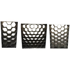 Vintage Galvanized Metal Honeycomb Wine Racks