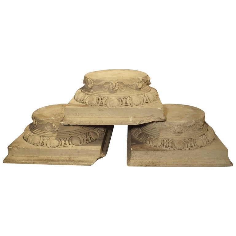 Set of Three Carved Stone Capitals from France, Near Beauvais, Early 1800s For Sale