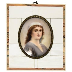 Attributed to KPM Hand-Painted Porcelain Portrait of a Woman