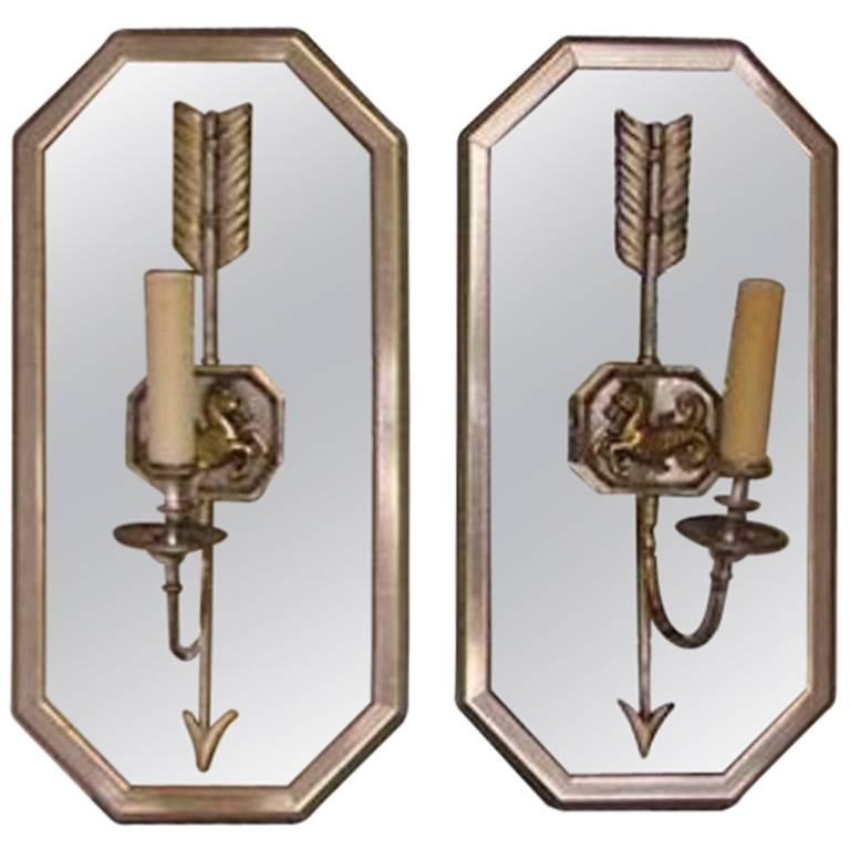 Pair of French Seahorse Nickel Silver and Brass Mirrored Wall Sconces, C. 1870
