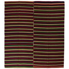 Banded Wool Kilim, Flat-Weave Rug