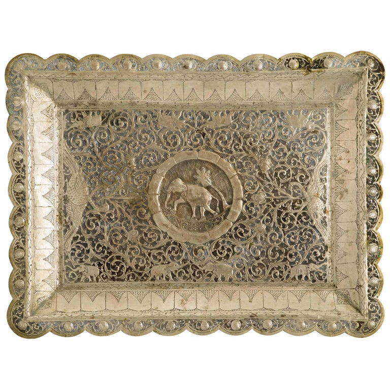 anglo indian mughal motif engraved tin serving tray for sale at