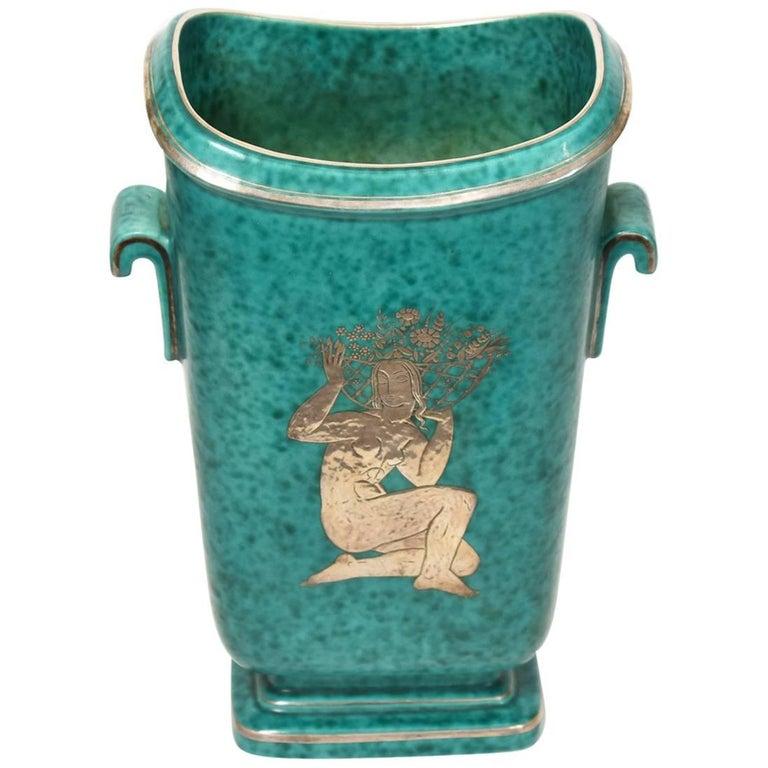 Gustavsberg Art Deco Vase with Silver Female Motif, circa 1930
