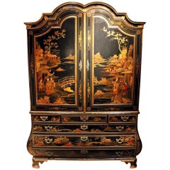 Impressive 18th Century, Dutch Black Chinoiserie Cabinet