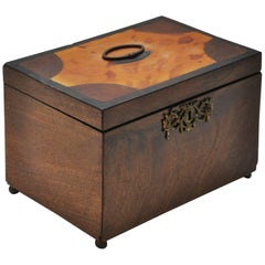 French Walnut Tea Caddy with Tortoise Inlay