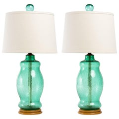 Pair of Blenko 1950s Green Crackle Glass Lamps