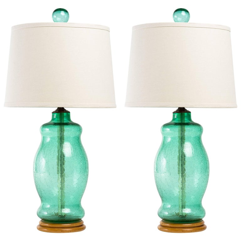 Pair of Blenko 1950s Green Crackle Glass Lamps