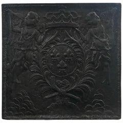 Antique Iron Fireback, circa 1750