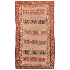 Small Scatter Size Tribal Antique Persian Kurdish Rug