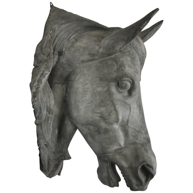 French Zinc Horse Head For Sale