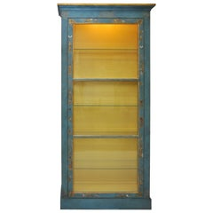 Illuminated Display Cabinet with Hand-Painted Chinoiserie Motifs