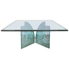 Hand Etched Glass Square Coffee Table