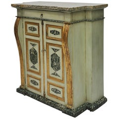 19th Century Italian Cabinet with Painted Finish and Marble Top