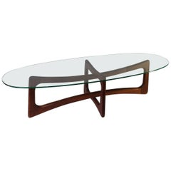 Glass Top Walnut Coffee Table by Adrian Pearsall