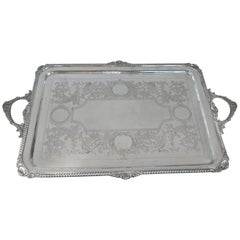 Antique Victorian, Sterling Silver Footed Tray, English