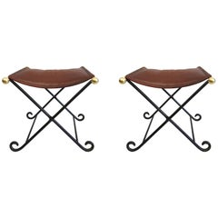 Pair French Modern Neoclassical Iron Benches, Stitched Leather Seats Attr. Subes
