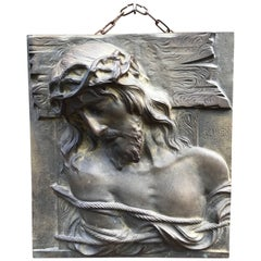 Impressive and Large Bronze Wall Plaque of a Suffering Christ by Sylvain Norga