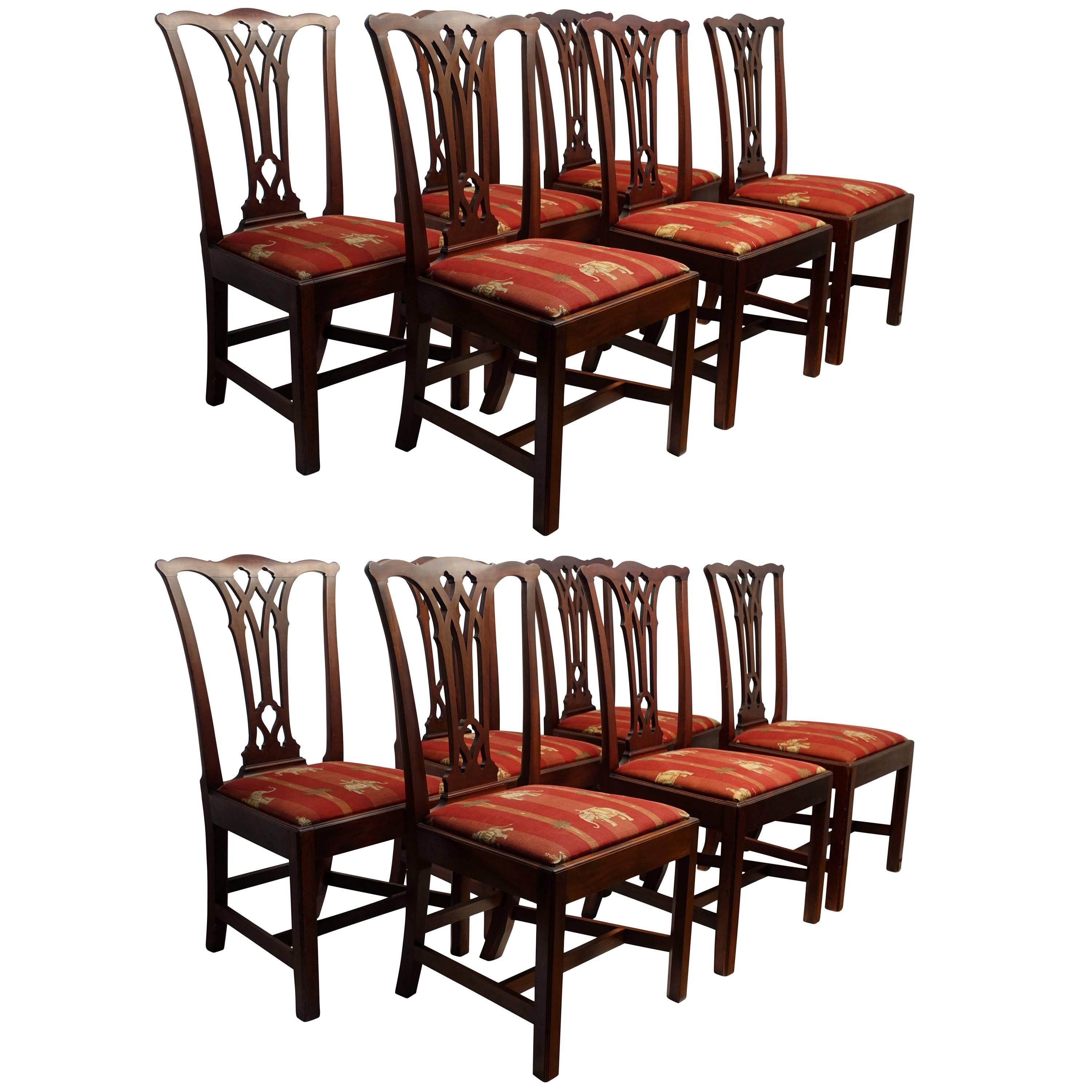 Set Of 12 English Mahogany Chippendale Dining Chairs