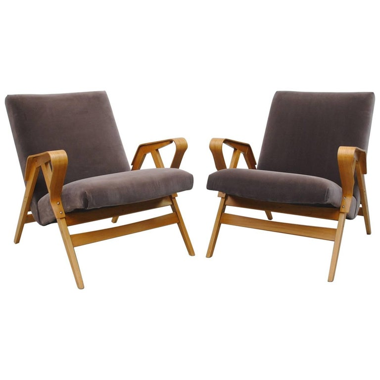 Pair of Czech Tatra Bent Plywood Lounge Chairs in Weimaraner Velvet 1
