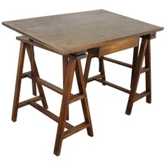 Antique French Pine Architect's Table, Adjustable