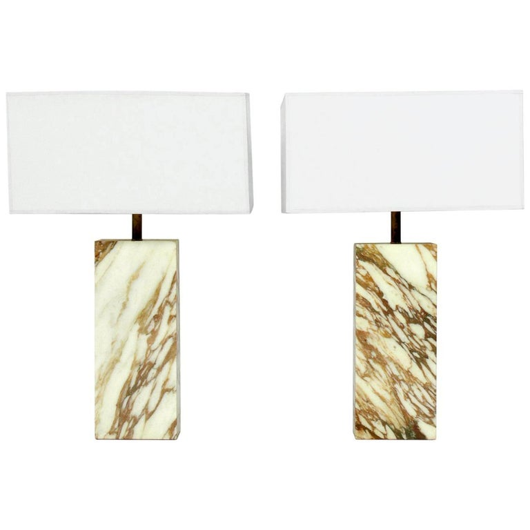 Pair of Clean Lined Marble Slab Lamps