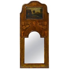 Dutch Inlaid Walnut Narrow Trumeau Mirror, 19th Century