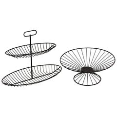 Raymor 1950s Black Wire Serving Stand and Bowl