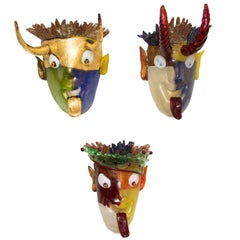 "Aristide Najean Set of ""Three Musketeers"" Mask Sconces"