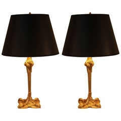 Pair of French 1920s Bronze Table Lamps in Attributed to George Leleu