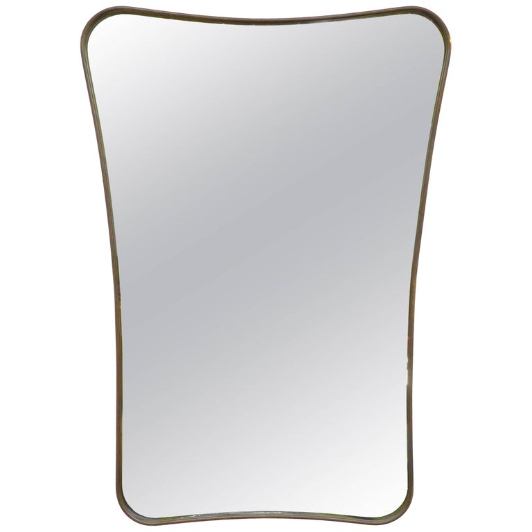 Biomorphic Brass Framed Mirror For Sale