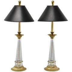 Pair of Chapman Brass and Glass Candlestick Buffet Lamps