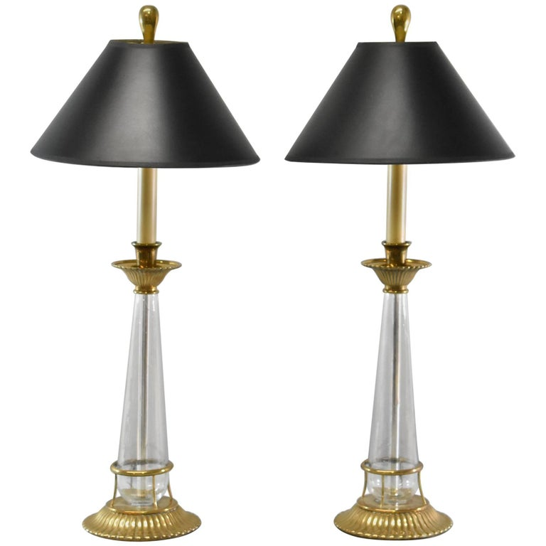 Pair Of Chapman Brass And Glass Candlestick Buffet Lamps