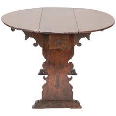 Italian Baroque Walnut Drop-Leaf Table