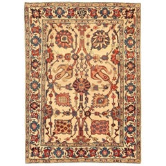 Small Scatter Size Antique Persian Kerman Rug