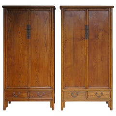 Pair of Antique Chinese Hardwood Tapered Two-Door Cabinets