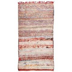Small Vintage Mid-Century Rag Texture Moroccan Carpet